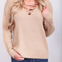 Vanilla Bean Lace-up Sweater {Coffee}