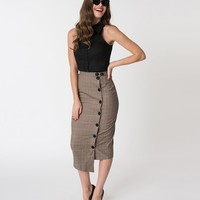 Brown & Tan Checkered Button Up Pencil Skirt