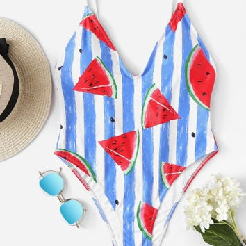 Plus Watermelon Print Striped Swimsuit