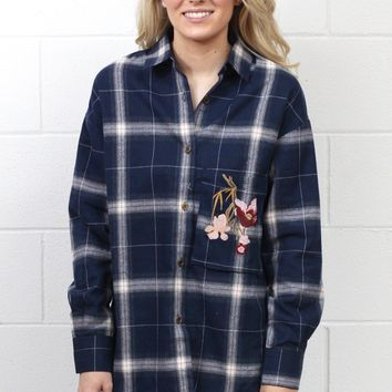 Embroidery Babe Plaid Flannel {Navy Mix}