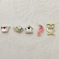 Floating charms for living locket  Gaden charms... watering can ... bee ... bird house...pink bird...owl