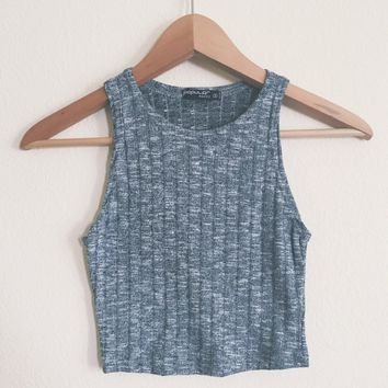 Janessa Ribbed Charcoal Tank