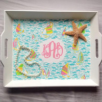 Lilly Pulitzer inspired accessory tray with monogram