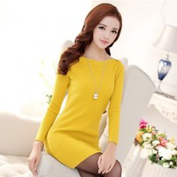 Women : Knitted Wide Shoulder Long Sleeve Dress YRB0596