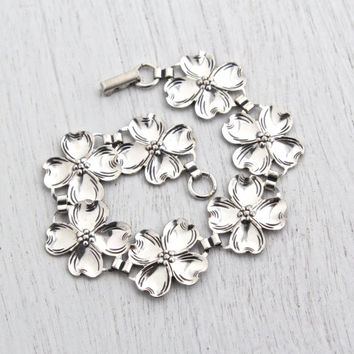 Vintage Sterling Silver Flower Bracelet - Retro 1960s Signed BEAU for Beaucraft Inc. Dogwood Jewelry / Fall Floral Links
