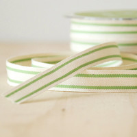 "5 Yards Organic Cotton Ribbon Green Stripe French Style Celery Green 5/8"" Natural Cotton Twill Tape"