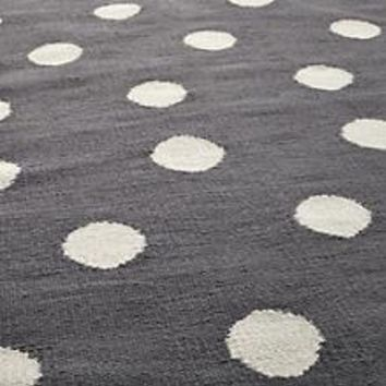 Lotsa Polka Dots Rug (Grey) in Cotton Rugs | The Land of Nod