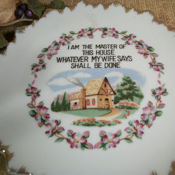 Wall Hanging Plate Master of the House Saying Home Decor by Fairway Vintage 1950'S Collectible Hand Painted Porcelain Plaque