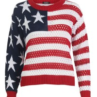 Forever Women's Long Sleeves American Flag Print Knitted Jumper