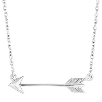 Sterling Silver Sideways Arrow Necklace - 18 Inch