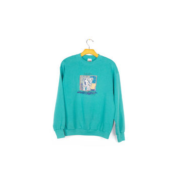 90s teal alaska polar bear sweatshirt / vintage 1990s / basic crewneck sweater