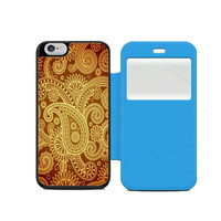 Red Gold Damask Pattern Wallet Flip Case iPhone Samsung Galaxy