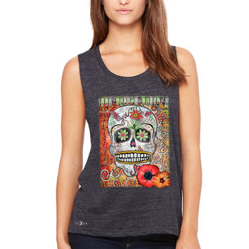 Zexpa Apparel™ Love Skull with Flower Women's Muscle Tee Day Of The Dead Oct 31 Tanks