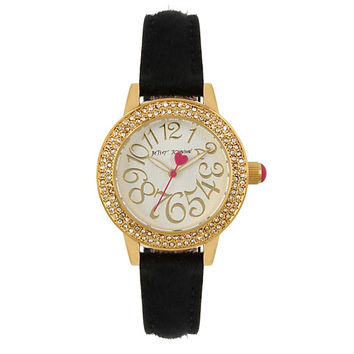 BETSEYS BOXED BLACK FUR STRAP WATCH: Betsey Johnson