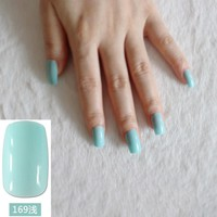 Nice Light Green Nail Art False Nails Lake Green Long Flat Fake Nail Tips Perfect for daily wear 24pcs R27-169M