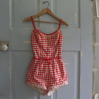 1950s Bathing Suit Red 50s One Piece Bathing Suit Jantzen XS