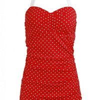Polka Dot Red Skirted Front Retro Pin up Rockabilly Women's Swimsuit Swimwear