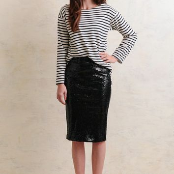 Glimmer Of Light Sequin Pencil Skirt In Black | Ruche