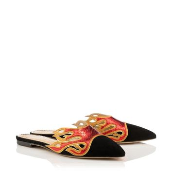 Flaming Slides in Black & Red - Flats | Charlotte Olympia