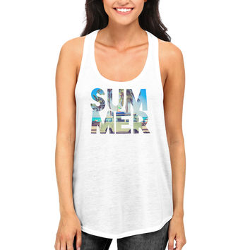 Cute Summer White Tank Tops For Women and Girls Hot Summer Days Racerback Tanks