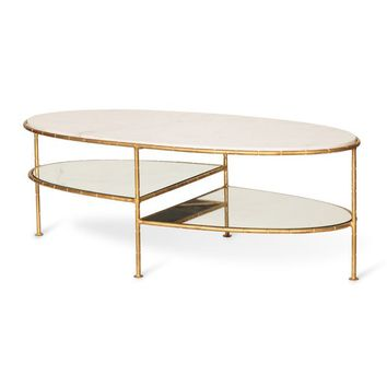 White Luxe Three Oval Bamboo Coffee Table | Oliver Bonas