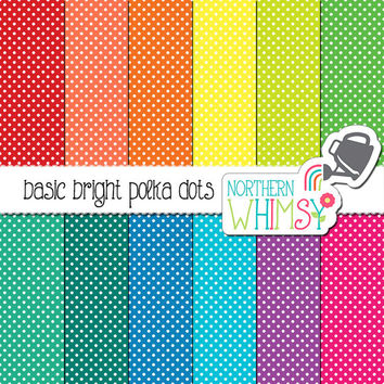 Bright Polka Dot Digital Paper – polka dot scrapbook paper in red, yellow, green, blue, & purple - printable paper - commercial use
