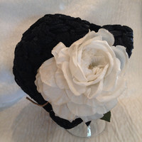 Vintage Black Straw Cloche Hat with Large White Flower