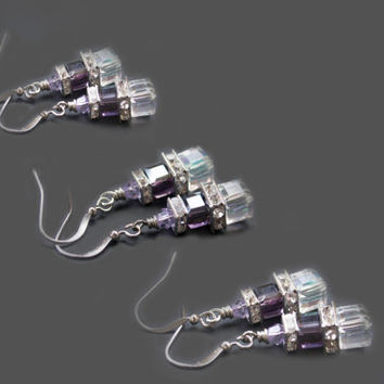 5 % OFF Set of 3 Bridesmaid Earrings. Swarovski Cube Crystal & Rhinestone Earrings. Clear Crystal AB and Amethyst Dangle Earrings.