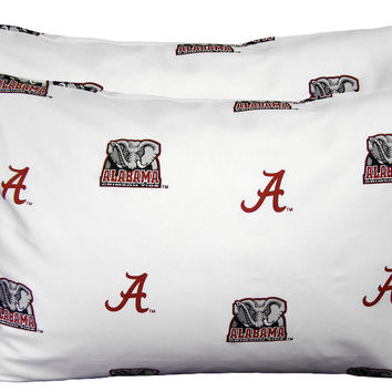 NCAA Alabama Crimson Tide Pillowcases Two-Pack White Set