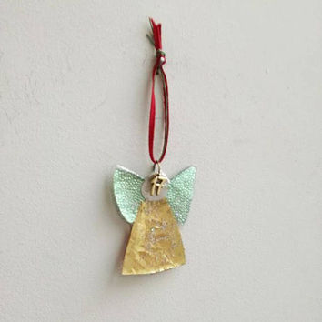 Xmas angel ornament, Christmas tree angel ornament, minty gold, sparkly angel, Xmas tree ornament with 2017 charm, Christmas decor angel