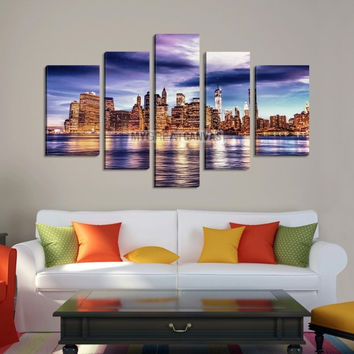 Large Wall Art NEW YORK Canvas Prints -  New York City Skyline over Sea Taken