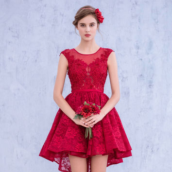 New Arrival 2016 Red A line Bateau Cap Sleeve Backless High Low Party Dress vestidos de formatura Lace Short Prom Dresses