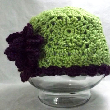 Green Hat with Purple Flower Accent for Little Girls 3-10 Years Old, Crochet Purple Flower and Green Granny Square Cloche for Little Girls