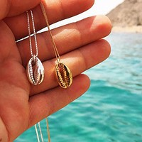 FAMSHIN Vintage Fashion Gold Silver Color Conch Shell Necklace For Women Shape Pendant Simple Seashell Ocean Beach Boho Jewelry