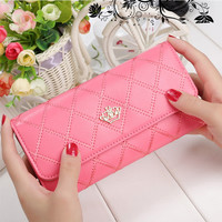 2016 NEW Fashion design wallet with coin pocket women purse Womens lattice Long PU Wallets