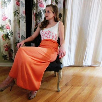 Vintage 1960s Coral Pink Evening Dress by Rappi by BasyaBerkman