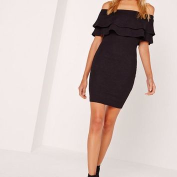 Missguided - Layered Frill Bandeau Bodycon Dress Black