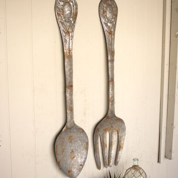Set of 2 Large Metal Fork & Spoon Wall Decor