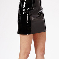 Black Glossy Faux Leather Mini Skirt
