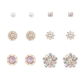 Floral Faux Gem Stud Set