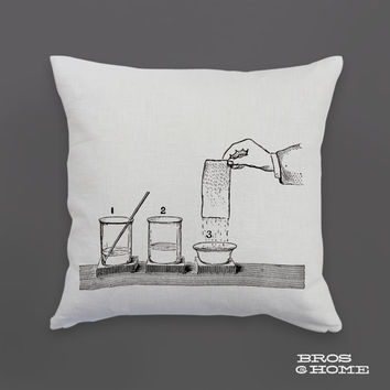 Chemistry Throw Pillow | Screen Printed Bleaching with Phosphorus Couch Pillowcase