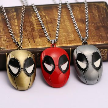 Deadpool Dead pool Taco Super Hero Statement  Necklace Alloy Logo non-fade metal chain  3 colors Mask Necklace Famous Movie Jewelry AT_70_6