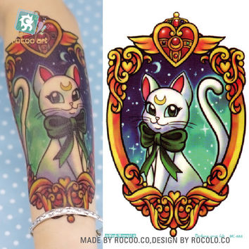 MC684 19X12cm Sailor moon HD Large Tattoo Sticker Body Art Smile Cat Kitty Temporary Tattoo Terrorist Stickers Flash Taty Tatoo