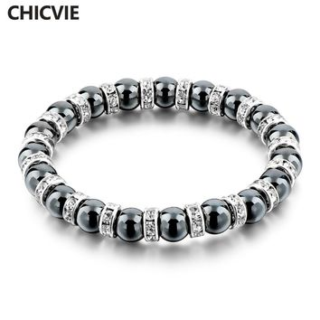 CHICVIE Tibetan Silver color Black Stone Strand Bracelet For Men women Handmade Beaded With Stones Jewellery Bracelet  Sbr160115
