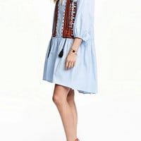National Wind Embroidered Tie Neck Mini Dress