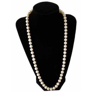 "Vintage Imitation Pearls 8-9 MM Single Strand 24"" 1940S Candlelight"