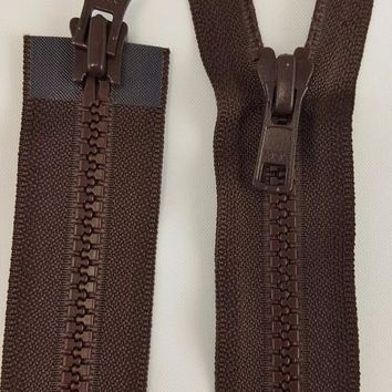 (Brown) Nylon Two Way Jacket Zipper, 28""