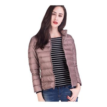 17 colors Casual Women's Down Parkas Brand new Stand Collar Short section 90% White duck down Jacket fashion Slim-type Outdoor sports Coats