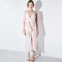 Light Pink Cross Deep V Halter Lace Waist Wide Leg Jumpsuit