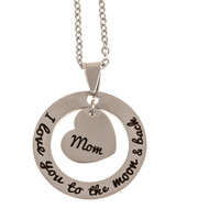 Stainless Steel Charm Necklace I Love You to the Moon and Back - Mom